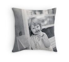 Baby Girl with Ice Cream Throw Pillow