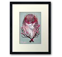 White Stag with Magnolias Framed Print