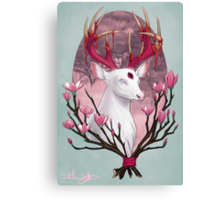 White Stag with Magnolias Canvas Print