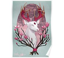 White Stag with Magnolias Poster