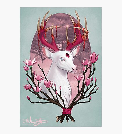 White Stag with Magnolias Photographic Print