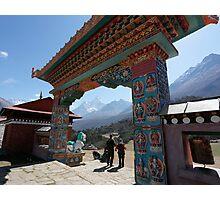 The gate of Thyengboche monastery with Ama Dablam Photographic Print