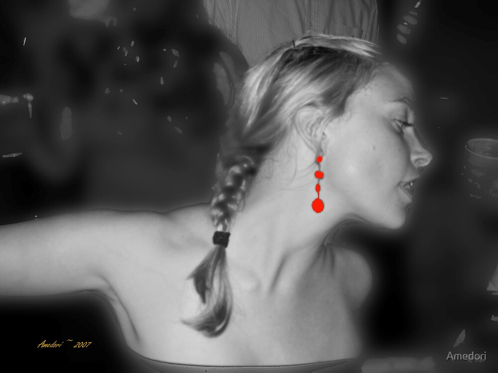 Red Earring in Black and White by Amedori