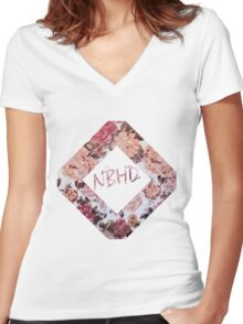 The NBHD Floral Women's Fitted V-Neck T-Shirt