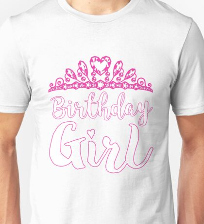 Cute Birthday Princess For Girls Pink Tiara Hearts Unisex T-Shirt