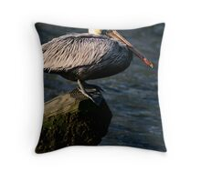 Brown Pelican on Post Throw Pillow