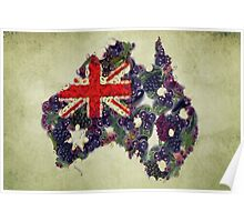 Australian Flag Map Fruits And Vegetables Poster