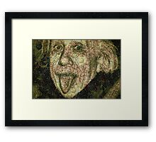 Albert Einstein Sticking His Tongue Vegetables Art Framed Print
