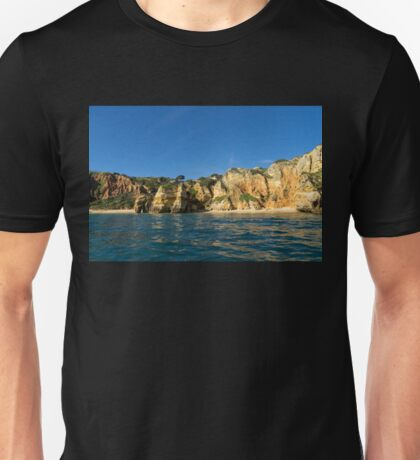 Jewel Toned Ocean Art - Sailing by Algarve Cliffs and Beaches  Unisex T-Shirt