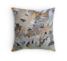 Frosty Oak Leaves Throw Pillow