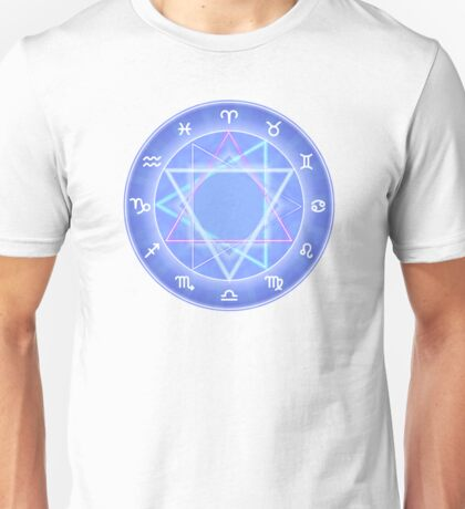 Zodiac circle, glowing Zodiac signs set on dark blue Unisex T-Shirt