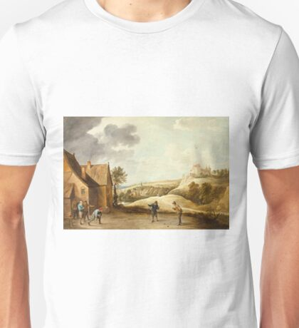 David Teniers The Younger - Landscape With Peasants Playing Bowls Outside An Inn Unisex T-Shirt