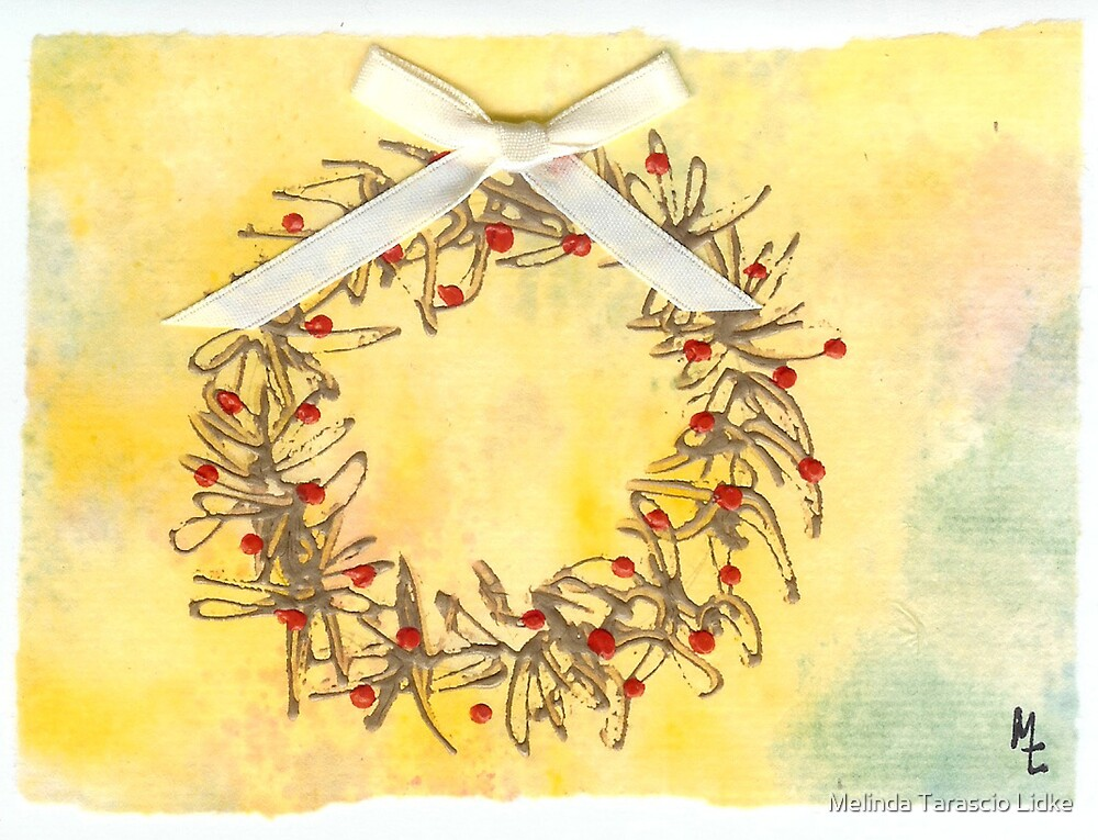Christmas Golden Wreath 6c by Melinda Tarascio Lidke