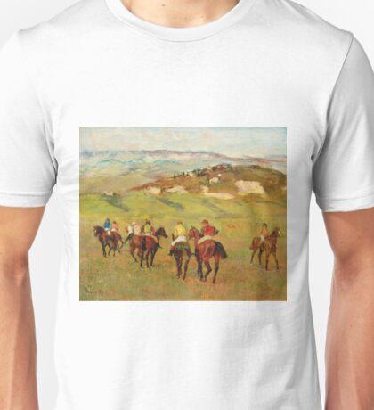 Edgar Degas - Jockeys On Horseback Before Distant Hills 1884 Unisex T-Shirt