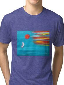 Sunset sail original art Tri-blend T-Shirt