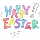 Happy Easter in fun bright colourful letters with flowers and exclamation mark, watercolour painting. by Sandra O'Connor