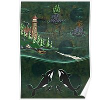 Orcas and the Lighthouse Poster