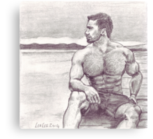 Man on Jetty Canvas Print