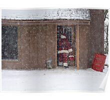 Santa Sneaking Away Poster