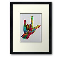 "American Sign Language ""I LOVE YOU"" with a Border Framed Print"