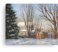 Blue House in Winter Canvas Print