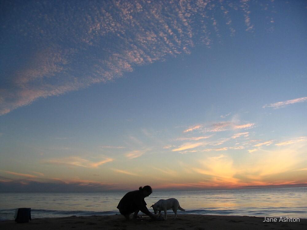 mans best friend, beachside by Jane Ashton