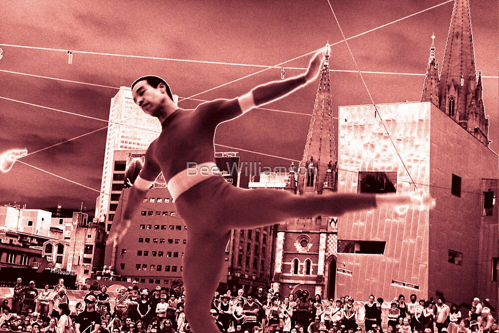 Merce Cunningham dancer - Fed Square by Bee Williamson