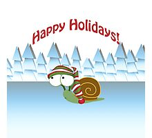 Happy Holidays! Winter Snail Photographic Print