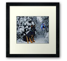 GERMAN SHEPHERD OUT IN SNOW PICTURE Framed Print