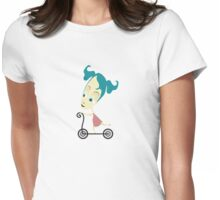 little girl on bike Womens Fitted T-Shirt