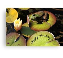 Frog ~  He Almost Sunk the Lily Pad Canvas Print