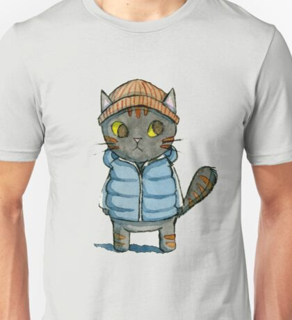 Cat with Beanie and Down Vest Watercolor Unisex T-Shirt