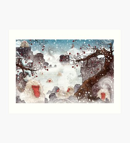 Soaking Japanese Snow Monkeys Art Print