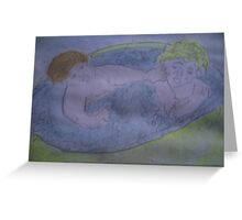 brother and sister splashing in the padding pool Greeting Card