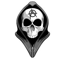 Anarchy Skull Wearing Hoodie Photographic Print