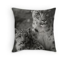 Mother & Daughter White Himalayan Snow Leopards Throw Pillow
