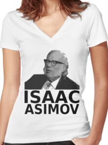 Isaac Asimov Black & White Vector Women's Fitted V-Neck T-Shirt