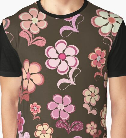 Sixties Flowers on Chocolate Brown Graphic T-Shirt