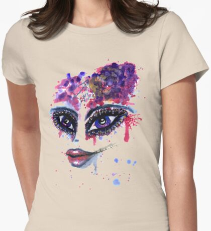 Watercolor Portrait 2 Womens Fitted T-Shirt