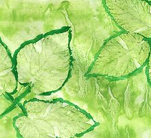Green Painted Texture with Leaves by AnnArtshock