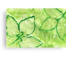 Green Painted Texture with Leaves Canvas Print