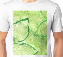 Green Painted Texture with Leaves Unisex T-Shirt