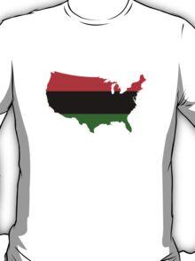 Pan-Afrcian Flag Map of USA  T-Shirt