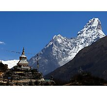 Ama Dablam (Mother's necklace) 6812 and the Tenzing Norgay chorten Photographic Print