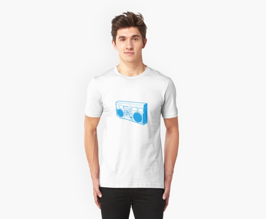 GETTO BLASTER BLUE by Awesome Rave T-Shirts