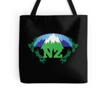 simple New Zealand with Maori stylised kiwi map and mountains  Tote Bag