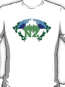 simple New Zealand with Maori stylised kiwi map and mountains  T-Shirt