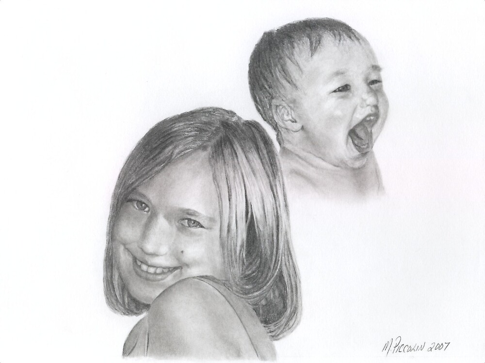 Allie then and now - graphite by Marlene Piccolin