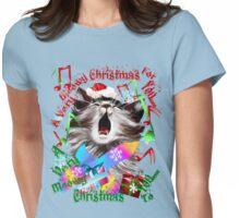 Christmas Carol Kitty Womens Fitted T-Shirt
