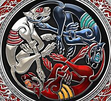 Celtic Treasures - Three Dogs on Silver and Black Velvet by Captain7